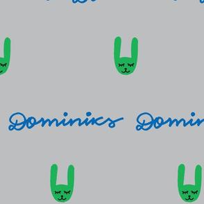 Grey green rabbit baby personalised