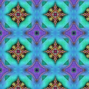 GIRAFFE AQUA BLUE JEWELS LOZENGE CHECKERBOARD