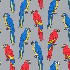 macaw // tropical jungle bird parrot animal fabric grey