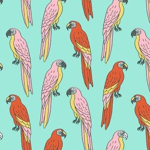 macaw // tropical jungle bird parrot animal fabric mint
