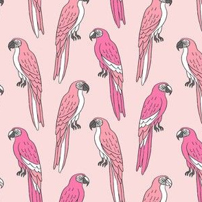 macaw // tropical jungle bird parrot animal fabric pinks