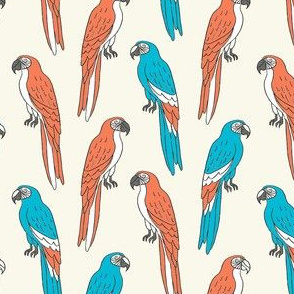 macaw // tropical jungle bird parrot animal fabric red blue