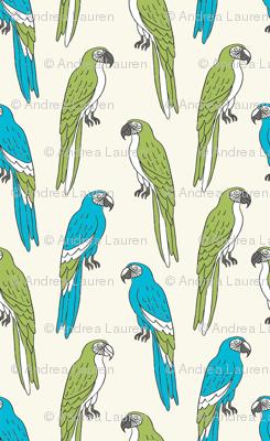 macaw // tropical jungle bird parrot animal fabric blue green