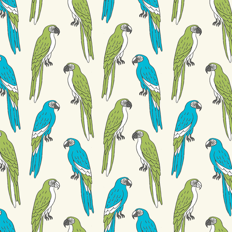 macaw // tropical jungle bird parrot animal fabric blue green fabric by andrea_lauren on Spoonflower - custom fabric