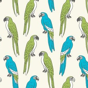 macaw // tropical jungle bird parrot animal fabric blue green