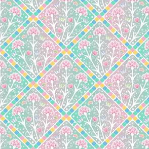 CY. Spanish tiles challenge. Cosmic carnations