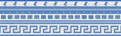 Mosaic Stripes of Blue and White
