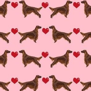 irish setter love  hearts dog breed fabric pink