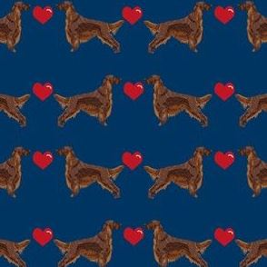 irish setter love  hearts dog breed fabric navy