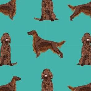 irish setter simple dog breed fabric turquoise