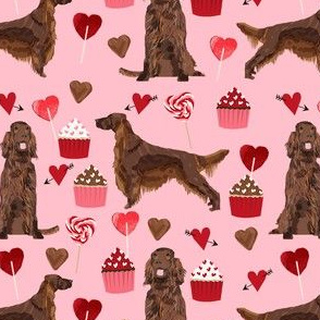 irish setter valentines day love hearts cupcakes dog breed fabric pink