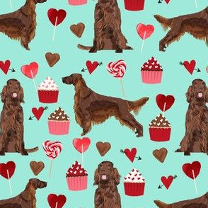 irish setter valentines day love hearts cupcakes dog breed fabric minty