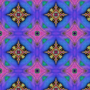 GIRAFFE BLUE JEWELS LOZENGE CHECKERBOARD