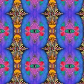 GIRAFFE BLUE TOTEM STRIPES by Floweryhat