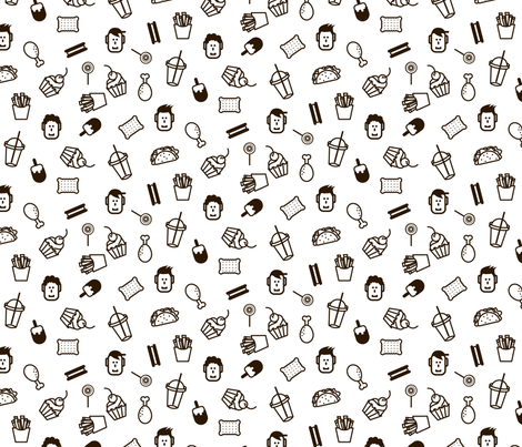 Fast food monochrome pattern fabric by yopixart on Spoonflower - custom fabric
