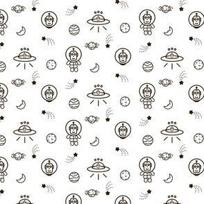 UFO line icon pattern
