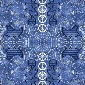 Spanish Tile White on Blue