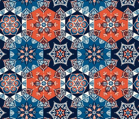 spanish tile pattern fabric lauramaydesigns Spoonflower