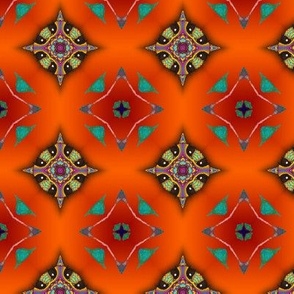 GIRAFFE SUNSET JEWELS LOZENGE CHECKERBOARD ORANGE