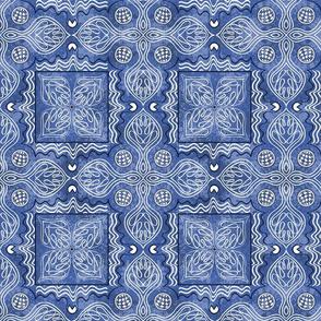 Spanish Tile White on Blue 2