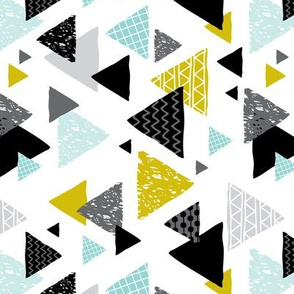 Geometric triangle aztec illustration hand drawn pattern mint and mustard flipped