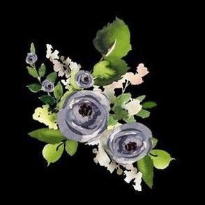 """6"""" Indigo Roses / Black"""