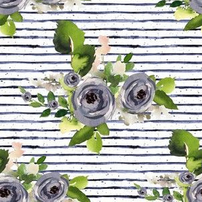 "6"" Indigo Roses with Blue Stripes"