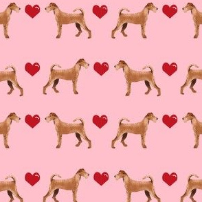 irish terrier love hearts valentines day dog fabric pink