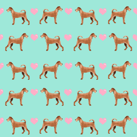 irish terrier love hearts valentines day dog fabric mint fabric by petfriendly on Spoonflower - custom fabric