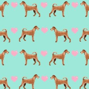 irish terrier love hearts valentines day dog fabric mint
