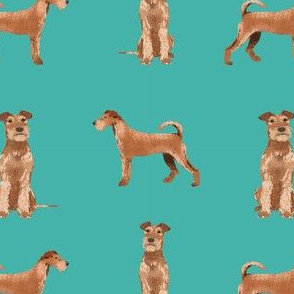 irish terrier simple valentines day dog fabric turquoise