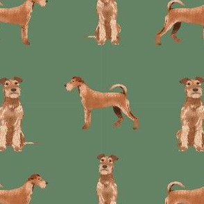 irish terrier simple valentines day dog fabric green