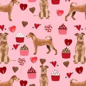 irish terrier valentines day love cupcakes hearts valentines day dog fabric  terrier valentines pink
