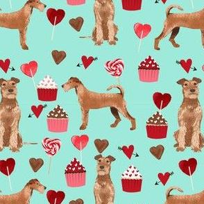 irish terrier valentines day love cupcakes hearts valentines day dog fabric  terrier valentines mint