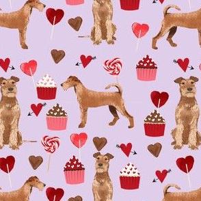 irish terrier valentines day love cupcakes hearts valentines day dog fabric  terrier valentines purple