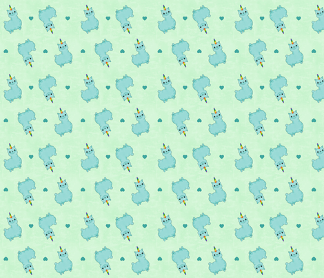 Uni-Llama in Teal and Green fabric by costumewrangler on Spoonflower - custom fabric
