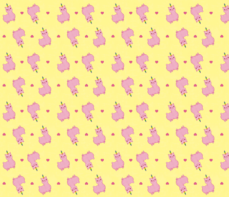 Uni-Llama in Pink and Yellow fabric by costumewrangler on Spoonflower - custom fabric