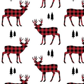 Deer Red + Black Buffalo Plaid – Trees Lumberjack Buffalo Check Woodland Baby Nursery Kids Room A