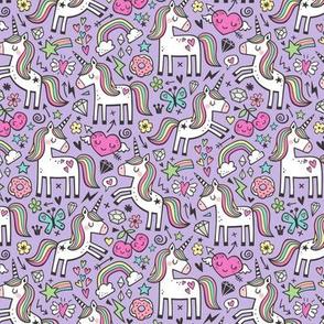 Unicorn & Pink Hearts Rainbow  Love Valentine Doodle on Purple Purpel 50%  Smaller
