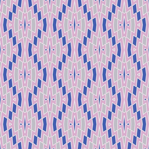 Tribal Diamond Pattern in Pink, Blue and Gray