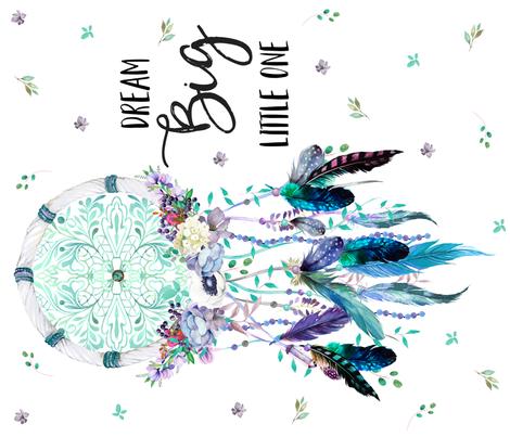 "36""X42"" DREAM BIG LITTLE ONE TEAL _ AQUA DREAMCATCHER fabric by shopcabin on Spoonflower - custom fabric"