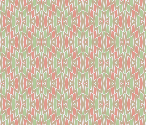 Tribal Diamond Pattern in Peach, Green and Tan fabric by mel_fischer on Spoonflower - custom fabric