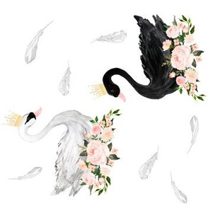 "7"" Black & White Swan with Feathers / 90 degrees"