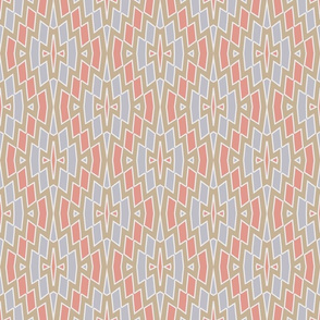 Tribal Diamond Pattern in Peach, Tan and Gray