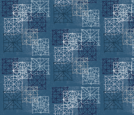 Denim - Tile Sketch fabric by owlandchickadee on Spoonflower - custom fabric