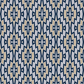 Tribal Diamond Pattern in Navy, Tan and Gray