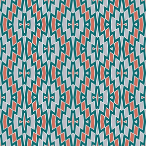 Tribal Diamond Pattern in Coral, Teal and Gray