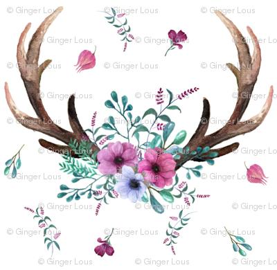 Antlers Amp Flowers Purple Teal Floral Deer Antler Baby