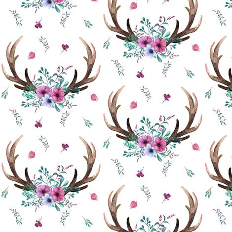 Antlers flowers purple teal floral deer antler baby for Purple nursery fabric