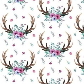 Antlers & Flowers - Purple + Teal Floral Deer Antler Baby Girl Nursery Bedding B